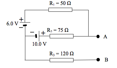 A two terminal network of resistors and batteries