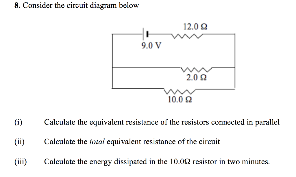 Solved  Consider The Circuit Diagram Below Calculate The E