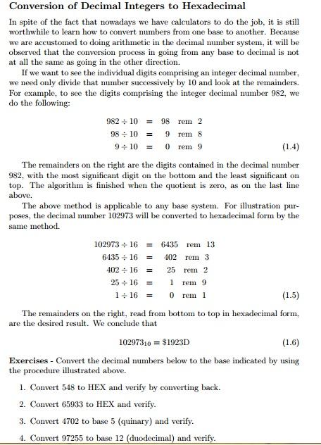 Conversion of Decimal Integers to Hexadecimal In