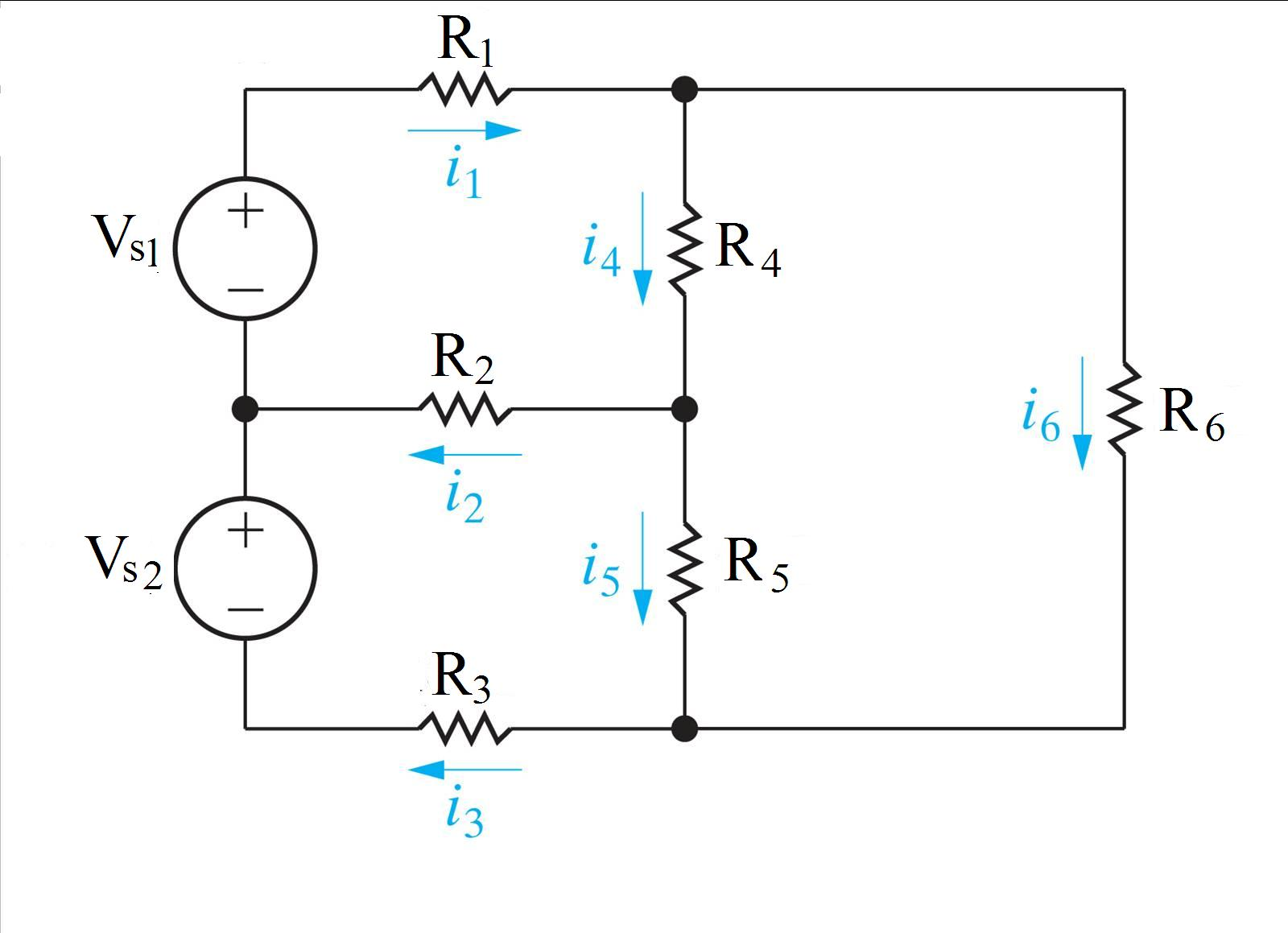 In the circuit, Vs1 is 122 V, Vs2 is 126 V, R1 is