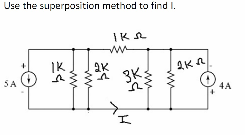 Use the superposition method to find I.