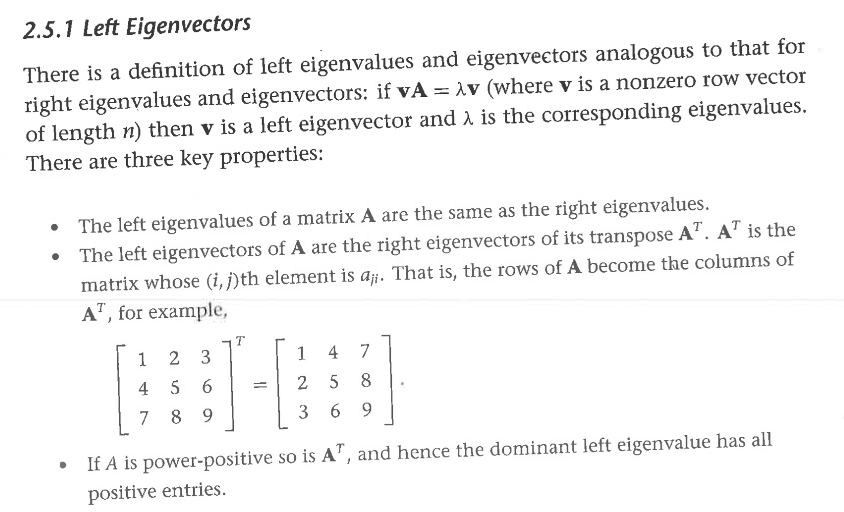 Solved 251 Left Eigenvectors There Is A Definition Of L