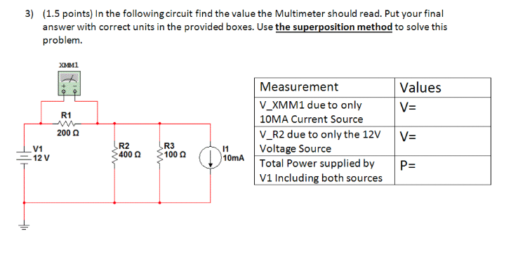 In the following circuit find the value the Multim