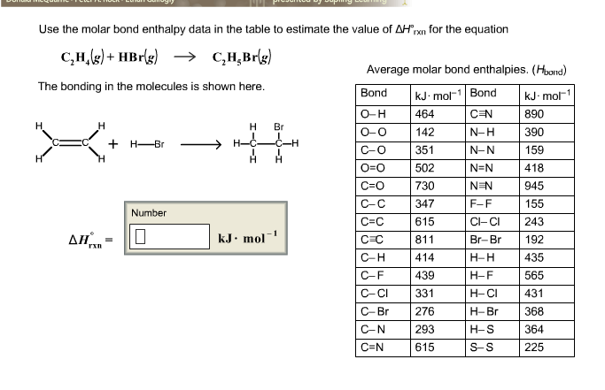 Use the molar bond enthalpy data in the table to e for Delta s table chemistry