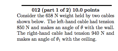 Consider the 658 N weight held by two cables shown