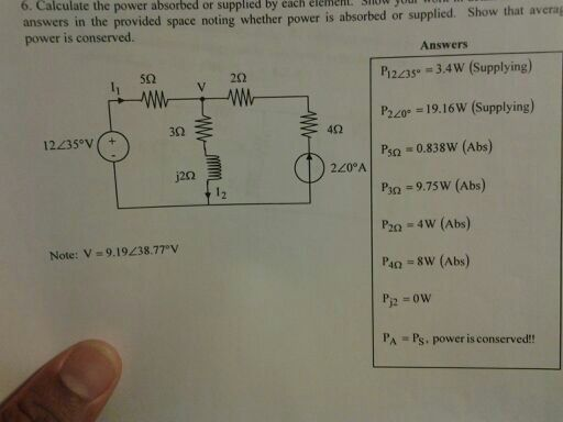 Calculate the power absorbed or supplied by each e