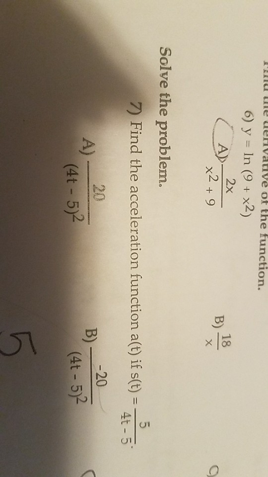 Solved: My Ie Uervative Of The Function. 6)y=ln (9 + X2) 1 ...