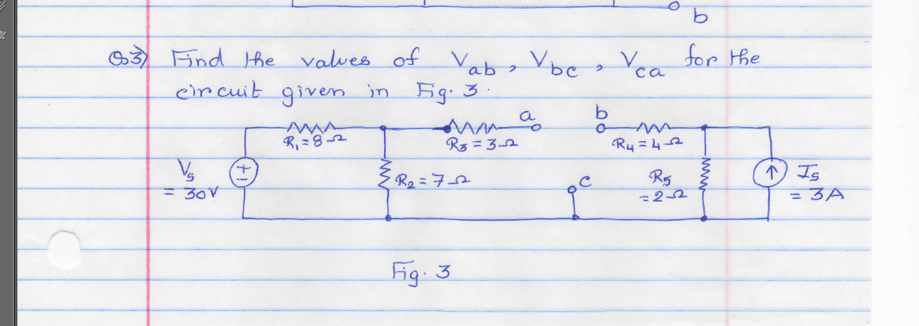 Find the values of Vab, Vbc, Vca for the circuit g