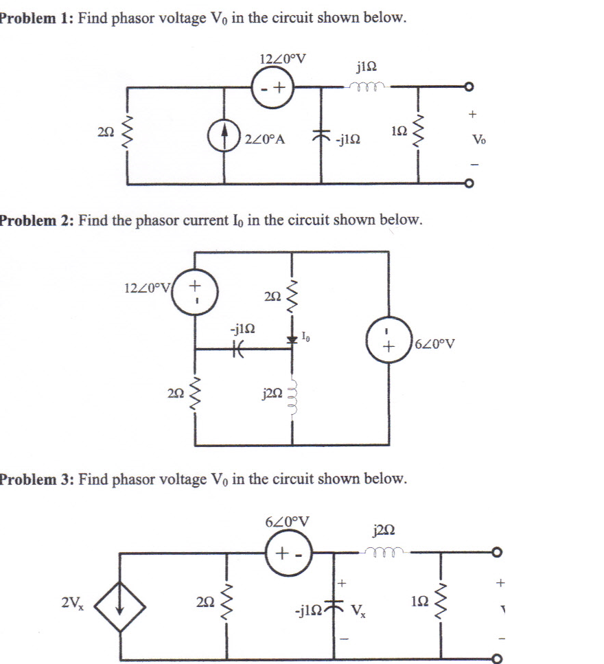 Find phasor voltage V0 in the circuit shown below.