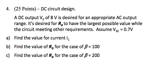 DC circuit design. A DC output V0 of 8 V is desir