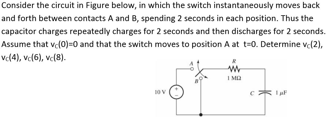 Consider the circuit in Figure below, in which the