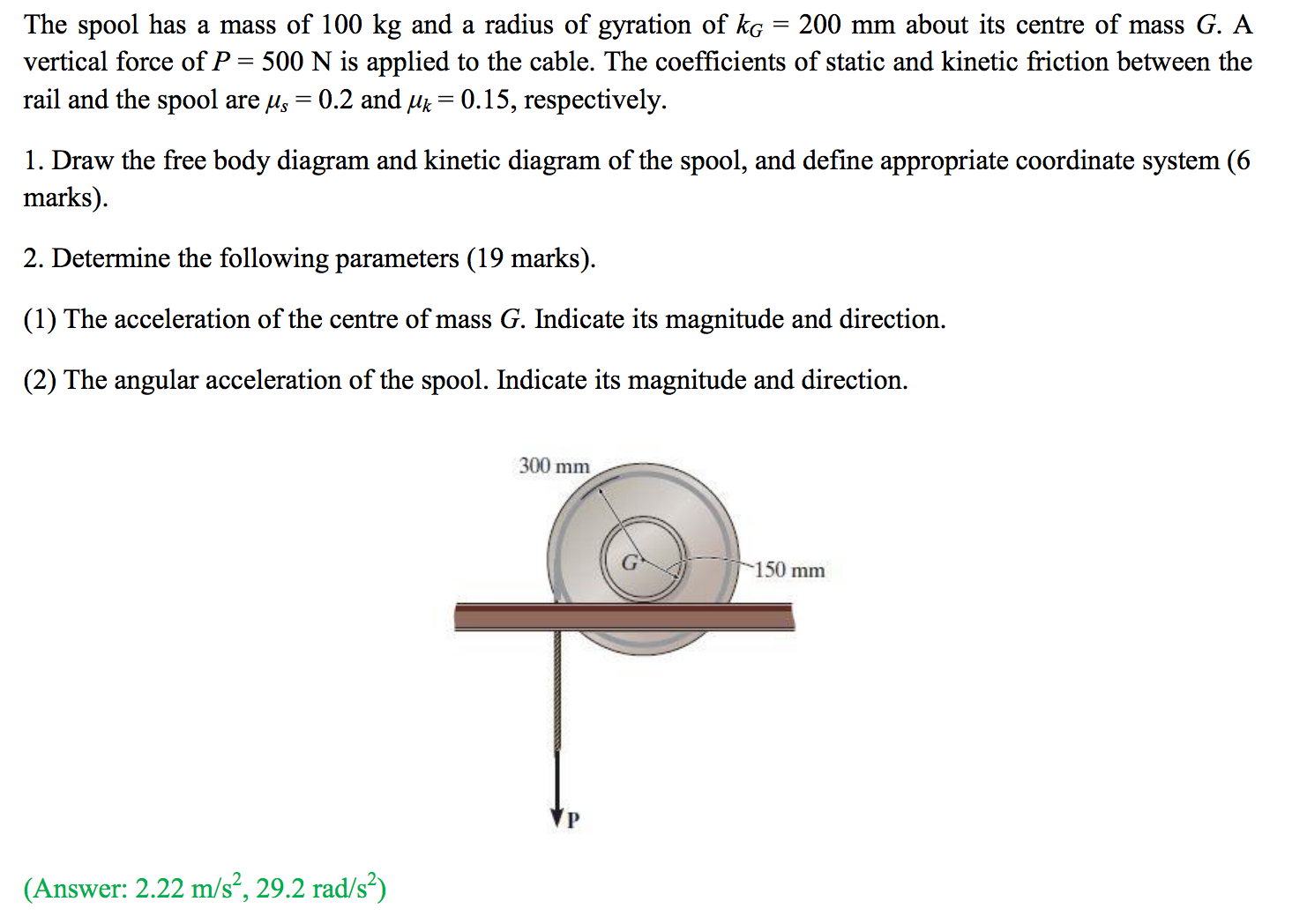 Solved the spool has a mass of 100 kg and a radius of gyr expert answer pooptronica Images