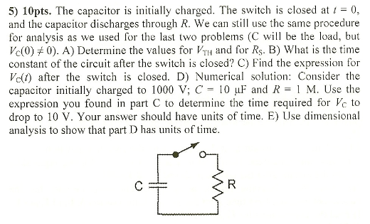 The capacitor is initially charged. The switch is