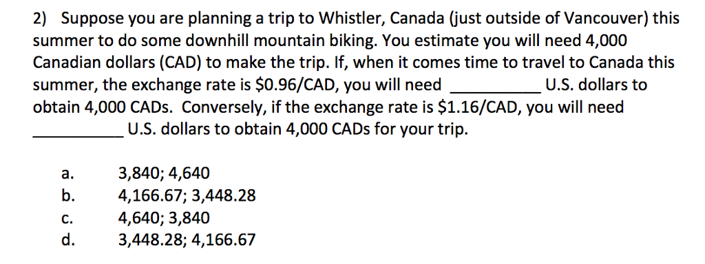 Question: Suppose you are planning a trip to whistler, Canada (just outside of Vancouver) this summer to do...