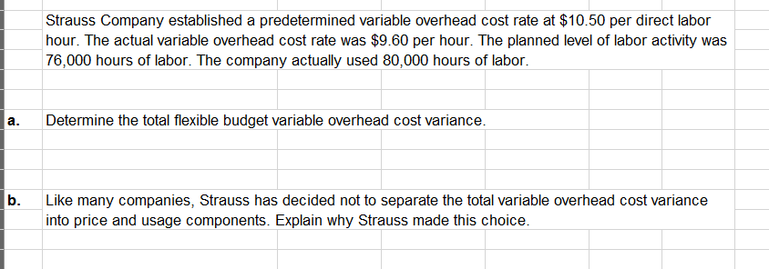 Question: Strauss Company established a predetermined variable overheadcost rate at $10.50 per direct labo...