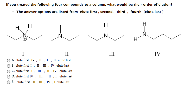If you treated the following four compounds to a c