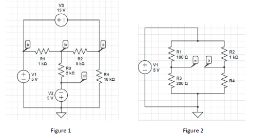 Calculate the Voltage at Nodes a-d for Figure 1 an