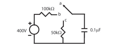 The uncharged capacitor in the circuit shown below