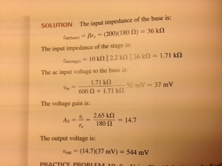 The input impedance of the base is: (200)(180 Ohm