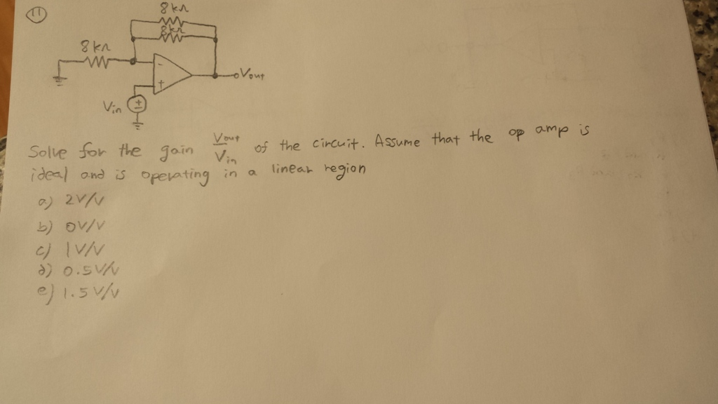 Solve for the gain Vout/Vin of the circuit. Assume