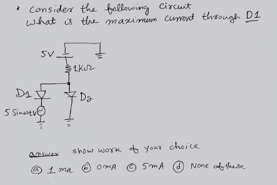 Consider the following circuit what is the maximum