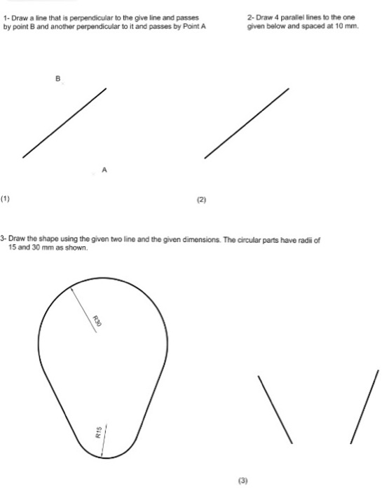 Civil D Draw Line Perpendicular : Solved draw parallel lines to the one a line