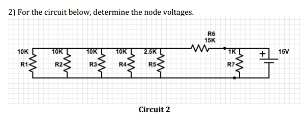 For the circuit below, determine the node voltages