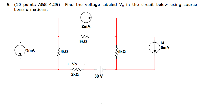Find the voltage labeled V0 in the circuit below u