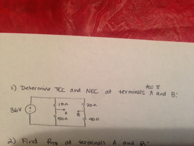 Determine PEC and NEC at terminals. A and B: Find