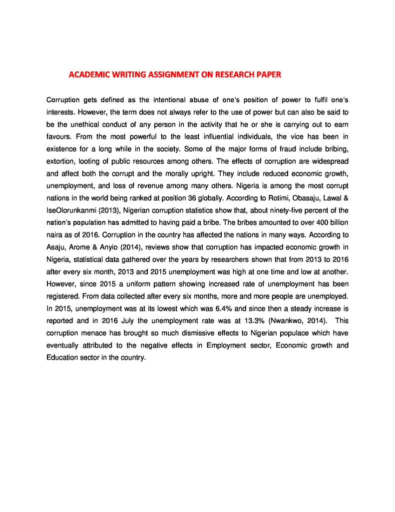 Essay On Nature Conservation Academic Writing Assignment On Research Paper Corruption Gets Defined As  The Intentional Abuse Of Ones Position Online Learning Essay also Neighbourhood Essay Solved I Copy  Paste The Thesis Statement From The Abov  Immigration Essays
