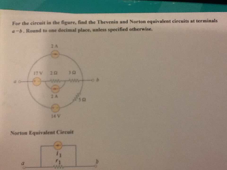 For the circuit in the figure, find the Thevenin a