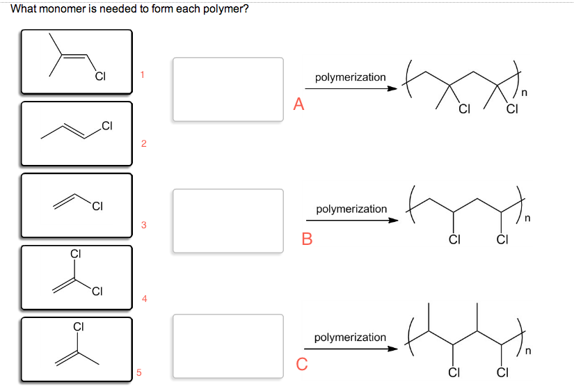 What Monomer Is Needed To Form Each Polymer? | Chegg.com