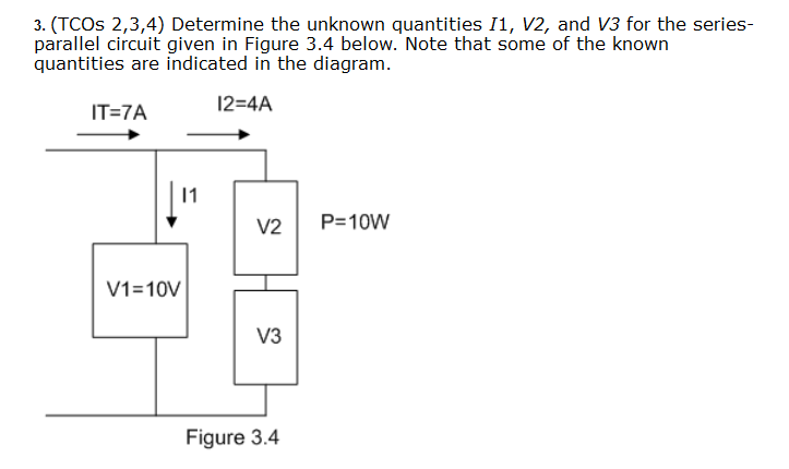 Determine the unknown quantities I1, V2, and V3 f