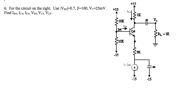 For the circuit on the right. Use |VBE|=0.7, beta=