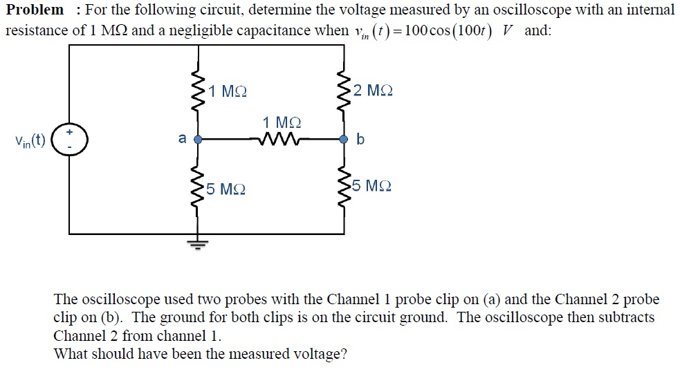 For the following circuit, determine the voltage m