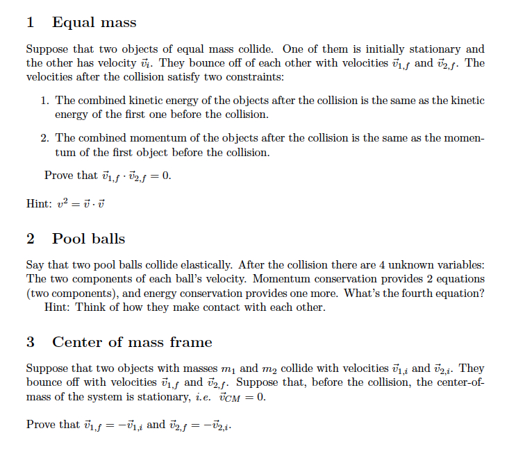 Equal mass Suppose that two objects of equal mass