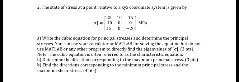 The state of stress at a point relative to a xyz c
