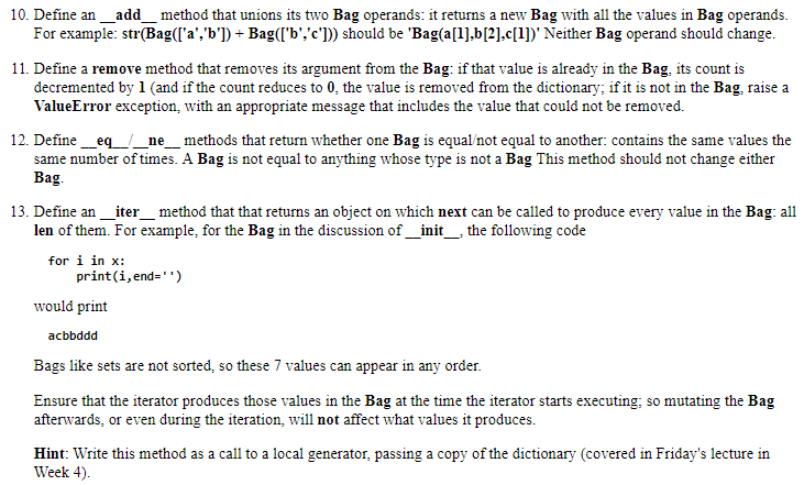 10. Define An_add Method That Unions Its Two Bag O... | Chegg.com