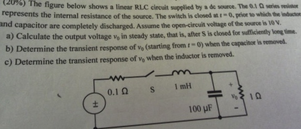 (25%) The figure below shows a linear RLC circuit