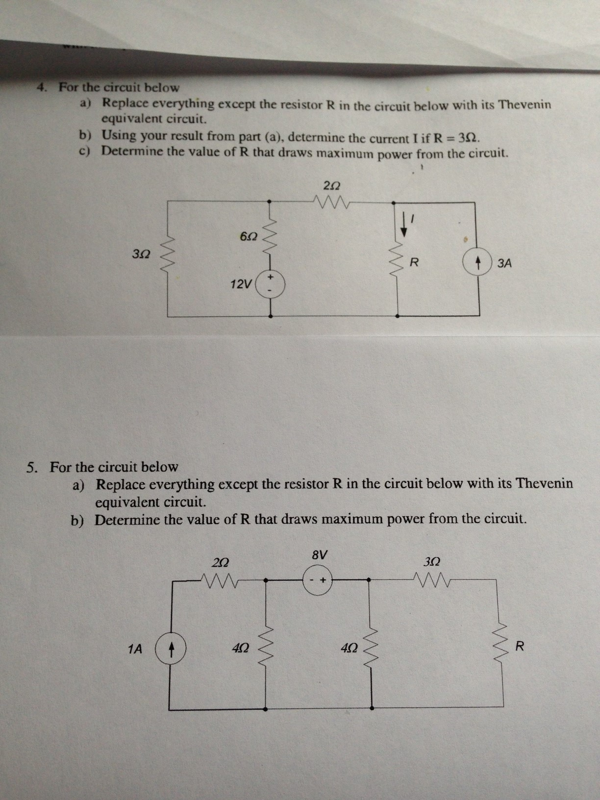 For the circuit below Replace everything except t