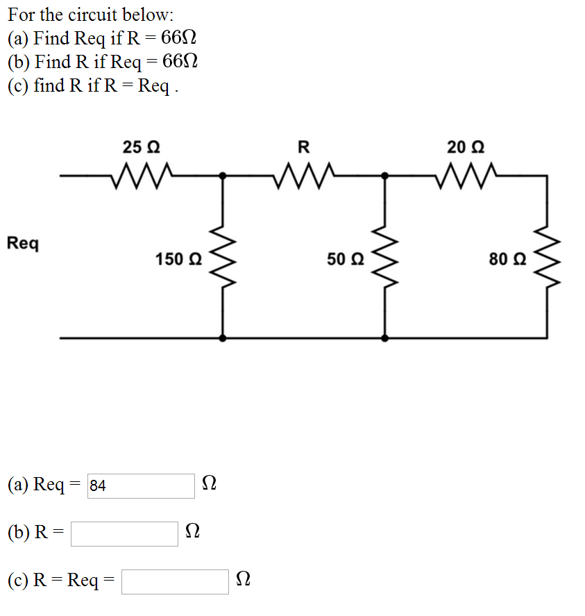 For the circuit below: Find Req if R = 66 Ohm Fi