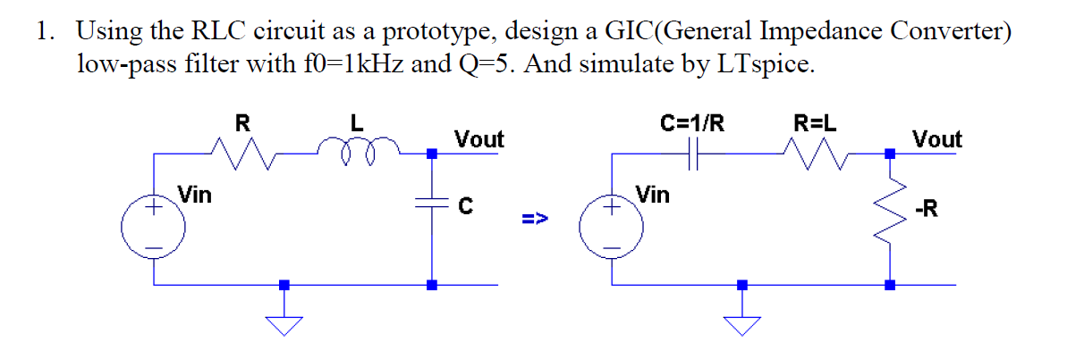 Using the RLC circuit as a prototype, design a GIC