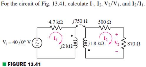 For the circuit of Fig. 13.41, calculate I|, I2, V
