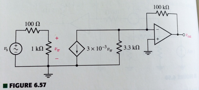 If vs=5sin3t mV in the circuit calculate v(out) at
