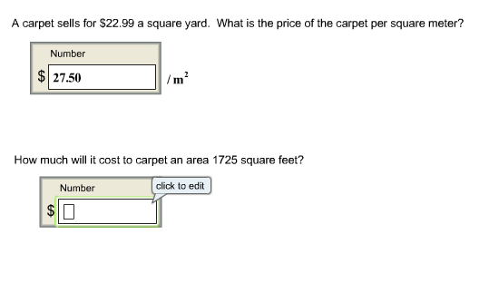 cost per square metre a carpet sells for 22 99 a square yard what is t