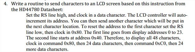 Write a routine to send characters to an LCD scree