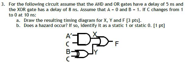 For the following circuit assume that the AND and