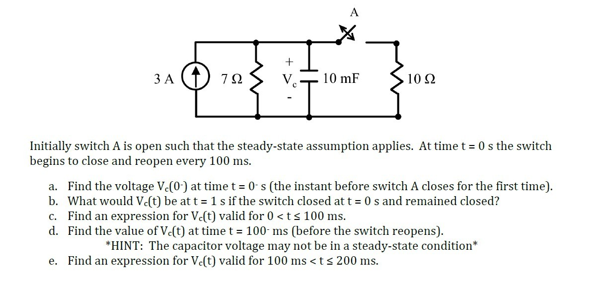 Initially switch A is open such that the steady-st