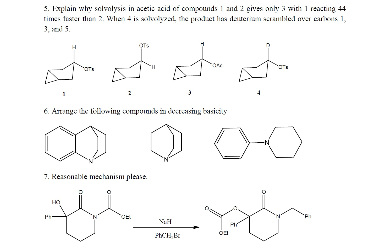 Explain why solvolysis in acetic acid of compounds