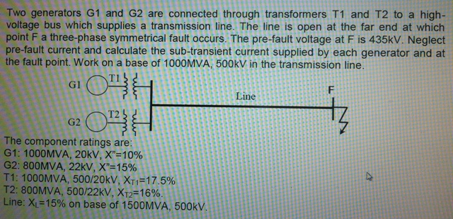 Two generators G1 and G2 are connected through tra